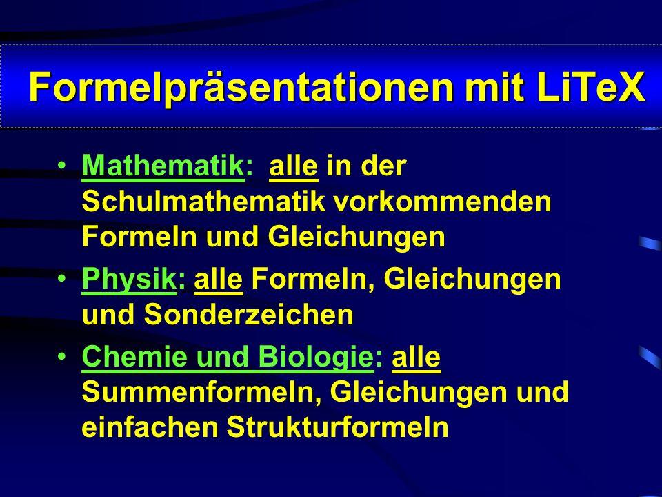 LiTeX oder L A T E X ? LiTeX oder L A T E X ? BL: W. 2000 {EQ X_1_,_2 = - \f(p;2)#pm\r(\f(p^2;4) - q)} LaTeX: \[X_{1,2} = - \frac{p}{2}\pm \sqrt{\frac