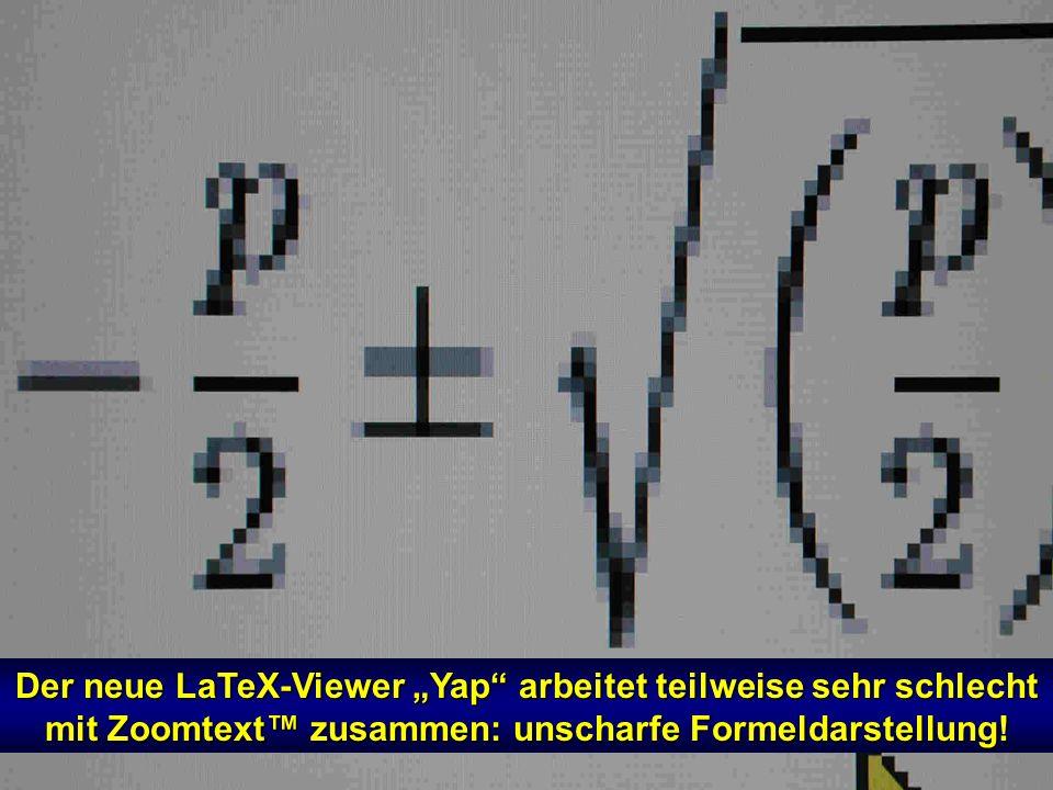 In LaTeX: Fehlermeldungen sind nur für Spezialisten in kurzer Zeit zu übersehen! Die Darstellung im DOS- Modus ist für Sehbehinderte sehr problematisc