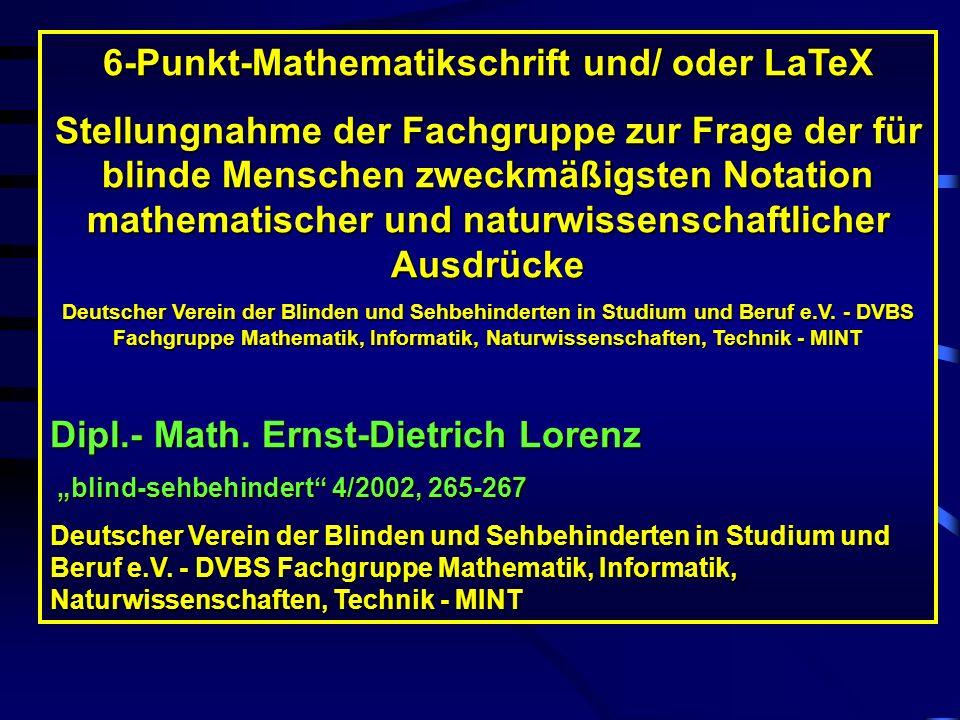 Soll dieses Satzsystem lesbarer werden, müssen zuvor zusätzliche Sonderregeln zumindest im Hinblick auf den Einsatz von Leerzeichen, mathematischen Op