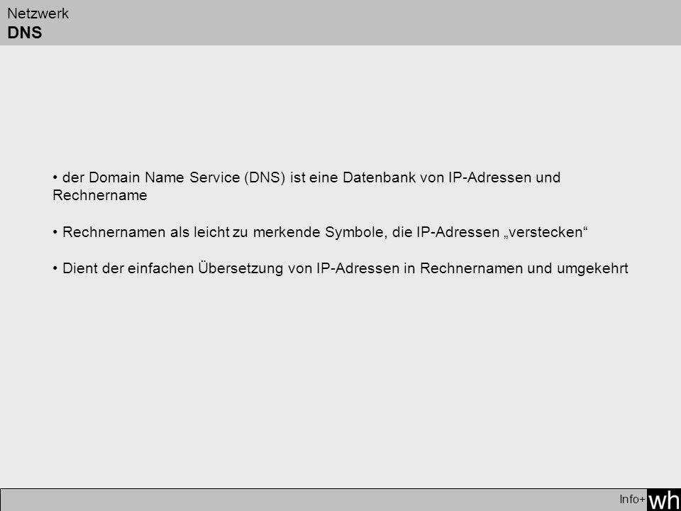 Netzwerk DNS Info+ der Domain Name Service (DNS) ist eine Datenbank von IP-Adressen und Rechnername Rechnernamen als leicht zu merkende Symbole, die IP-Adressen verstecken Dient der einfachen Übersetzung von IP-Adressen in Rechnernamen und umgekehrt