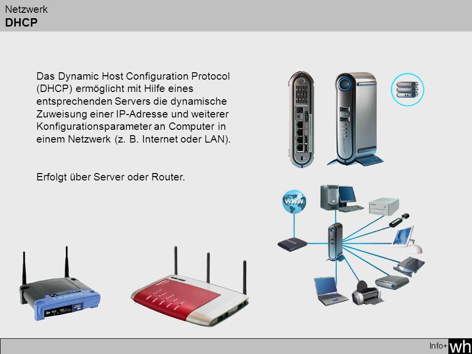 Netzwerk DHCP Info+ Das Dynamic Host Configuration Protocol (DHCP) ermöglicht mit Hilfe eines entsprechenden Servers die dynamische Zuweisung einer IP-Adresse und weiterer Konfigurationsparameter an Computer in einem Netzwerk (z.