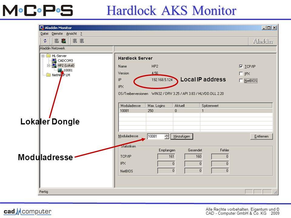 Alle Rechte vorbehalten, Eigentum und © CAD - Computer GmbH & Co. KG 2009 Lokaler Dongle Moduladresse Local IP address Hardlock AKS Monitor