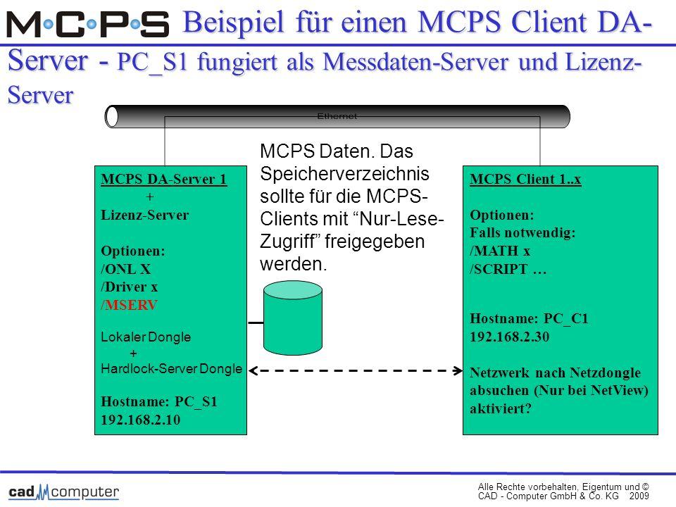 Alle Rechte vorbehalten, Eigentum und © CAD - Computer GmbH & Co. KG 2009 Beispiel für einen MCPS Client DA- Server - PC_S1 fungiert als Messdaten-Ser