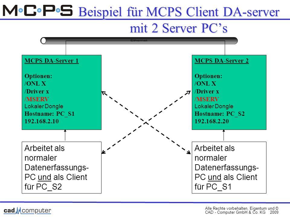 Alle Rechte vorbehalten, Eigentum und © CAD - Computer GmbH & Co. KG 2009 Beispiel für MCPS Client DA-server mit 2 Server PCs MCPS DA-Server 1 Optione