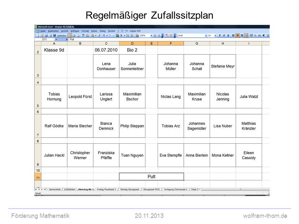 Förderung Mathematik20.11.2013wolfram-thom.de Regelmäßiger Zufallssitzplan