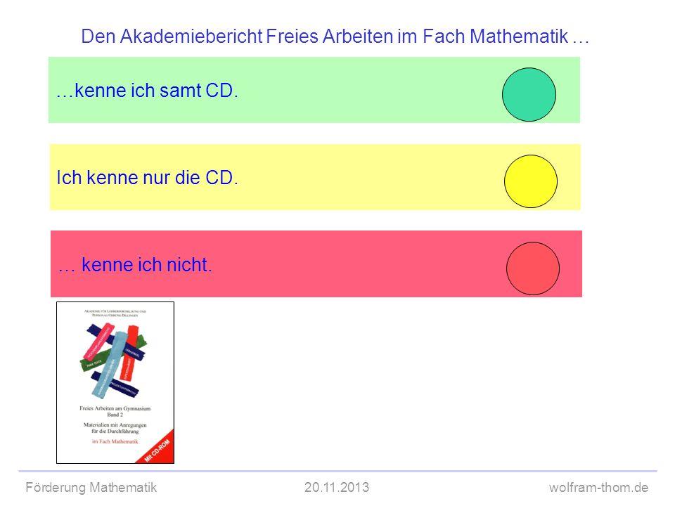 Förderung Mathematik20.11.2013wolfram-thom.de Ich kenne nur die CD. …kenne ich samt CD. Den Akademiebericht Freies Arbeiten im Fach Mathematik … … ken