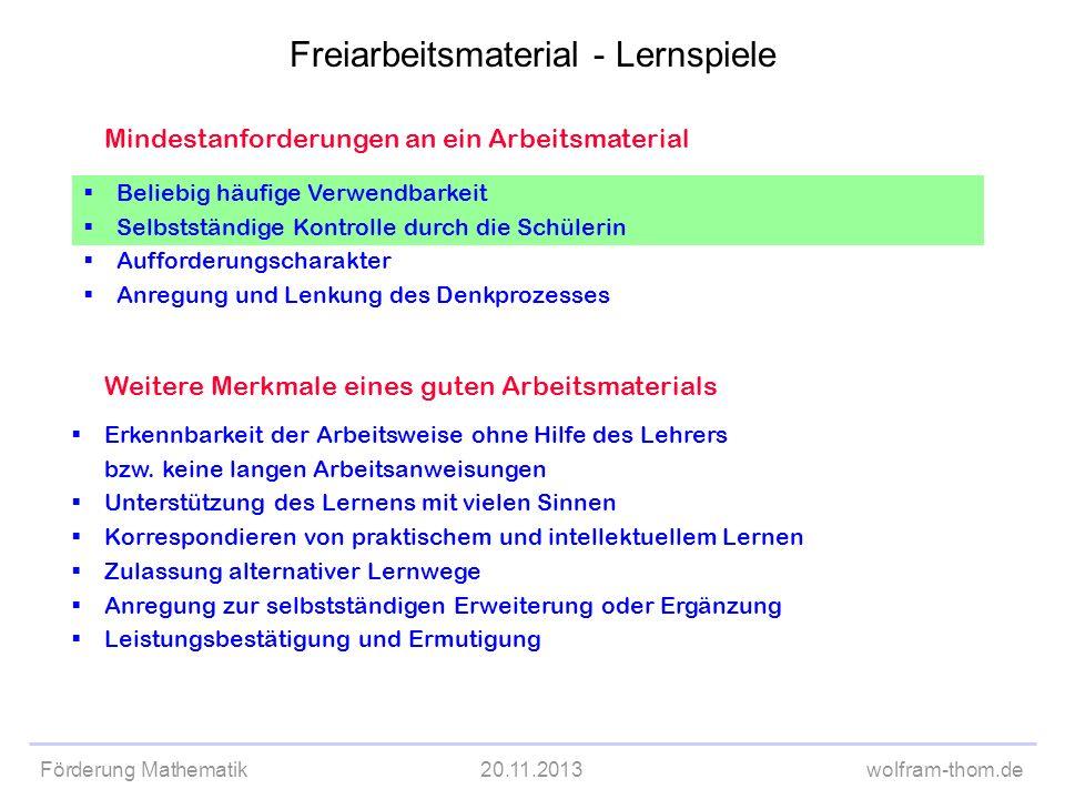 Förderung Mathematik20.11.2013wolfram-thom.de Mindestanforderungen an ein Arbeitsmaterial Beliebig häufige Verwendbarkeit Selbstständige Kontrolle dur