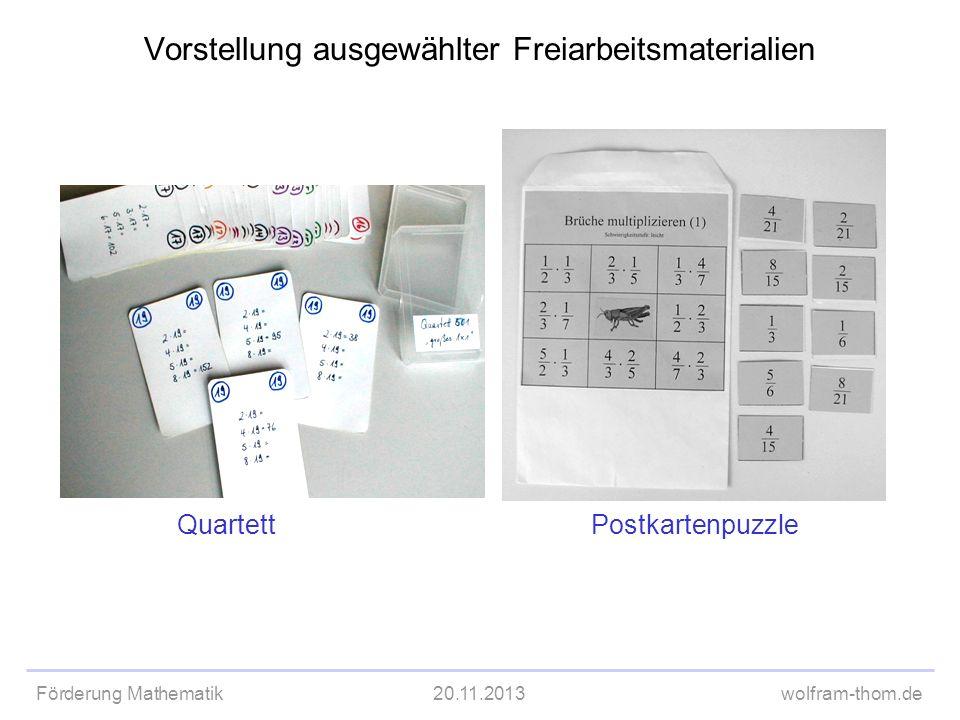 Förderung Mathematik20.11.2013wolfram-thom.de Vorstellung ausgewählter Freiarbeitsmaterialien QuartettPostkartenpuzzle