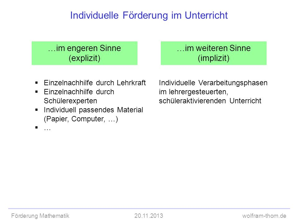 Förderung Mathematik20.11.2013wolfram-thom.de Individuelle Förderung im Unterricht …im engeren Sinne (explizit) …im weiteren Sinne (implizit) Einzelna