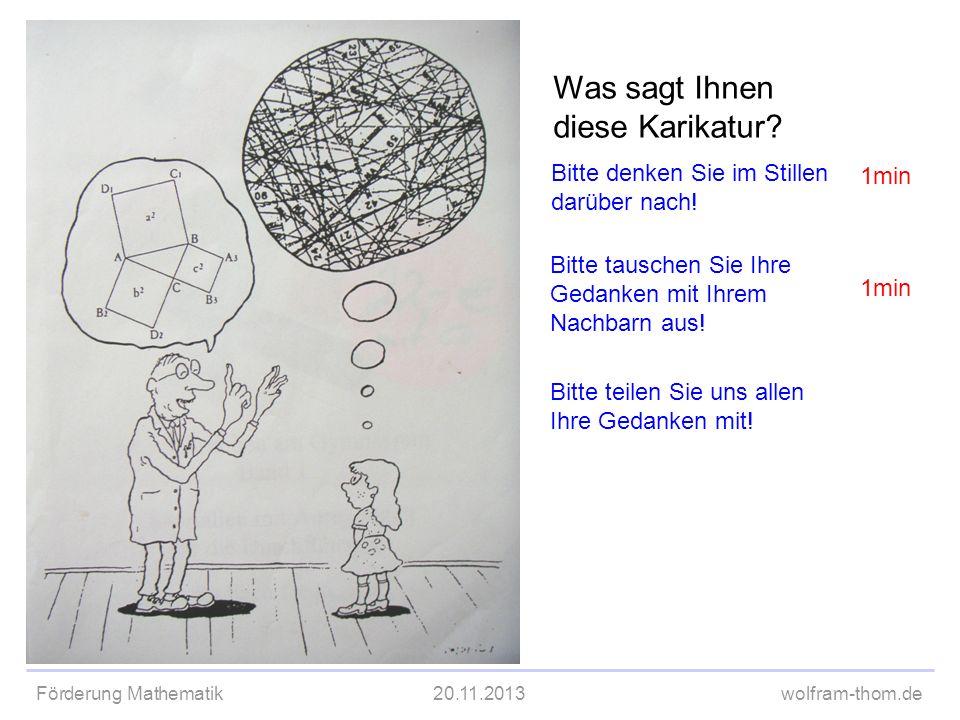Förderung Mathematik20.11.2013wolfram-thom.de TPS Was sagt Ihnen diese Karikatur? Bitte denken Sie im Stillen darüber nach! Bitte tauschen Sie Ihre Ge