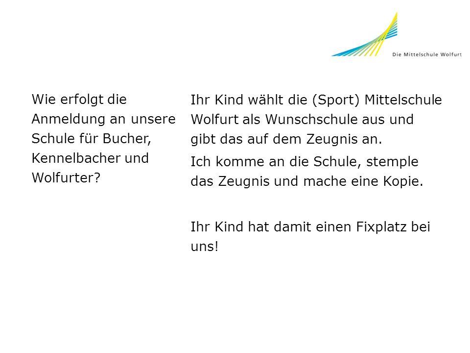 Wie erfolgt die Anmeldung an unsere Schule für Bucher, Kennelbacher und Wolfurter? Ihr Kind wählt die (Sport) Mittelschule Wolfurt als Wunschschule au