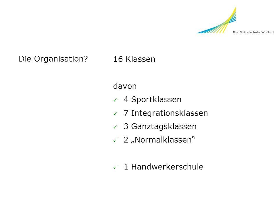 Die Organisation? 16 Klassen davon 4 Sportklassen 7 Integrationsklassen 3 Ganztagsklassen 2 Normalklassen 1 Handwerkerschule