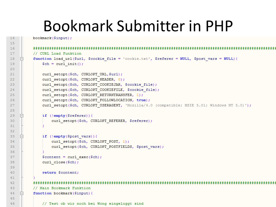 Bookmark Submitter in PHP Screen Scraping – Christian Schmidt www.christian.to - SEO Campixx 2010 18