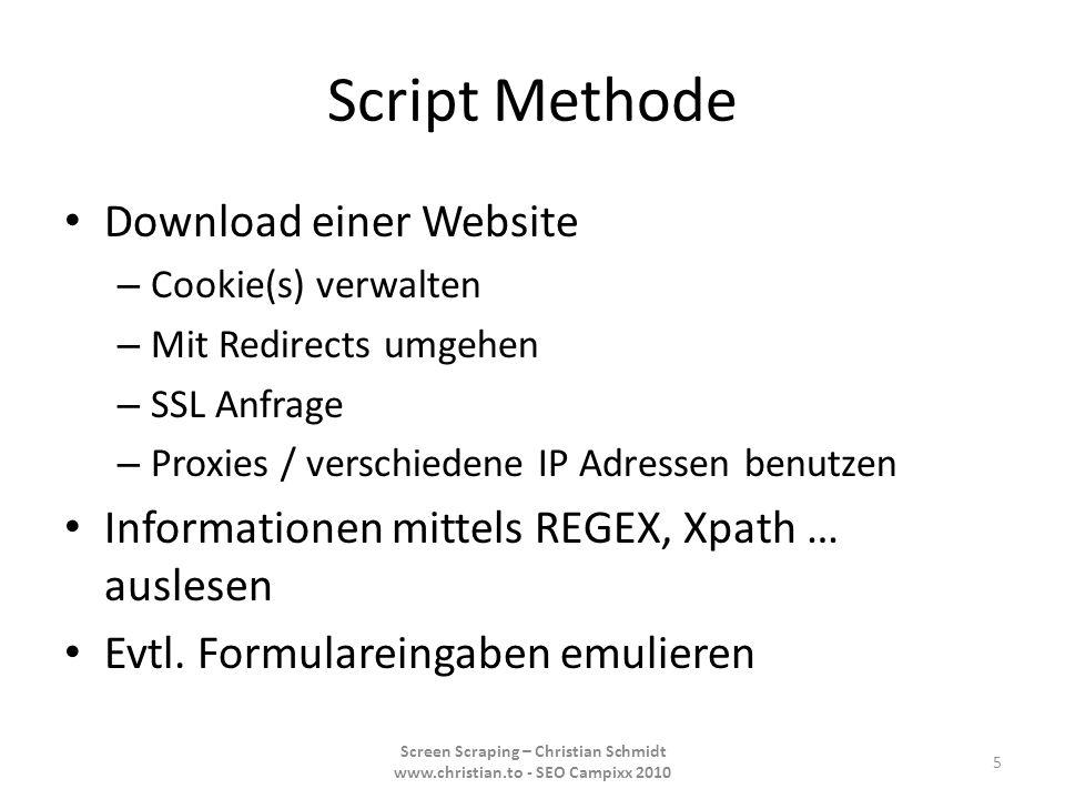 iMacro Beispiele StudiVZ Scraper Bookmark Submitter Captchas lösen 16 Screen Scraping – Christian Schmidt www.christian.to - SEO Campixx 2010