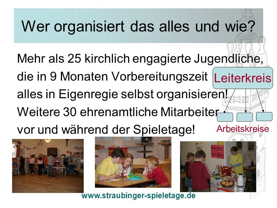 www.straubinger-spieletage.de Wer organisiert das alles und wie? Mehr als 25 kirchlich engagierte Jugendliche, die in 9 Monaten Vorbereitungszeit alle