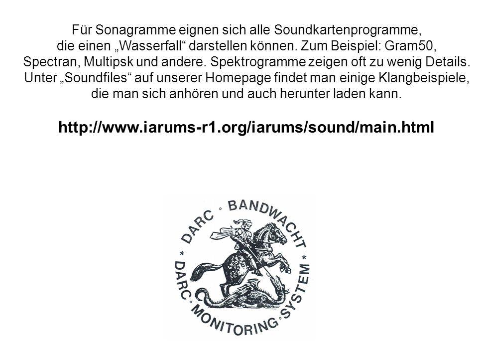 Für Sonagramme eignen sich alle Soundkartenprogramme, die einen Wasserfall darstellen können. Zum Beispiel: Gram50, Spectran, Multipsk und andere. Spe