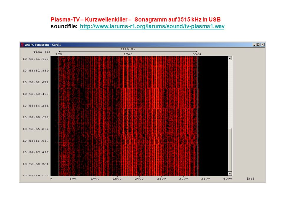 Plasma-TV – Kurzwellenkiller – Sonagramm auf 3515 kHz in USB soundfile: http://www.iarums-r1.org/iarums/sound/tv-plasma1.wavhttp://www.iarums-r1.org/iarums/sound/tv-plasma1.wav