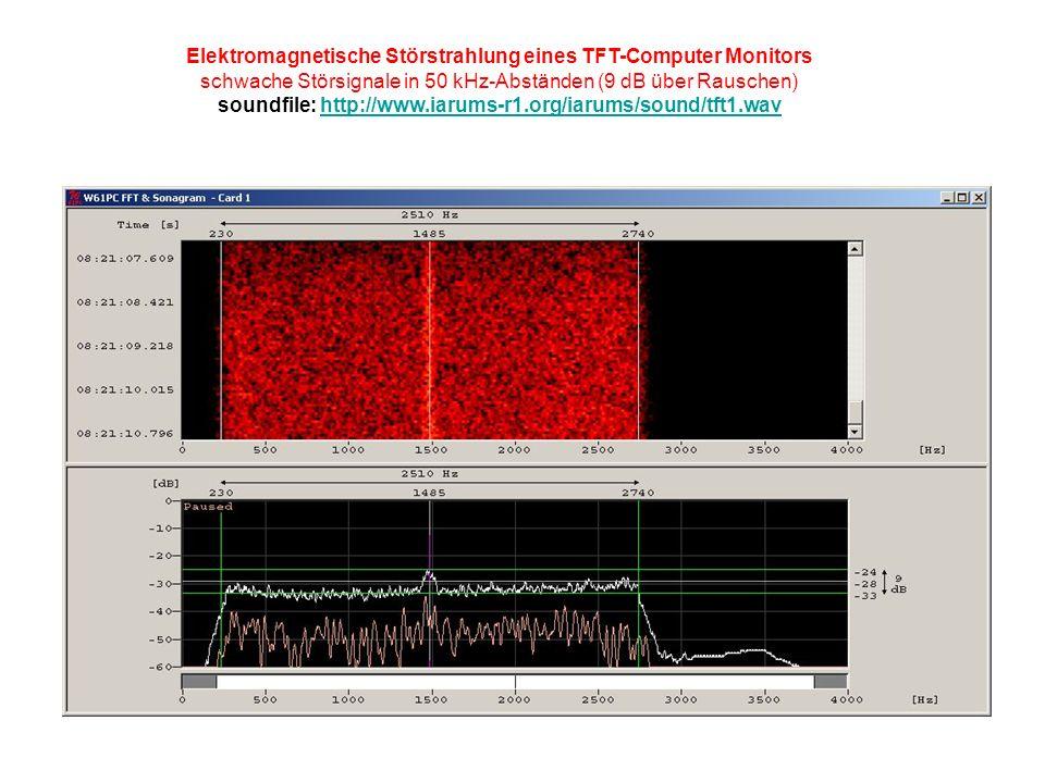Elektromagnetische Störstrahlung eines TFT-Computer Monitors schwache Störsignale in 50 kHz-Abständen (9 dB über Rauschen) soundfile: http://www.iarums-r1.org/iarums/sound/tft1.wavhttp://www.iarums-r1.org/iarums/sound/tft1.wav