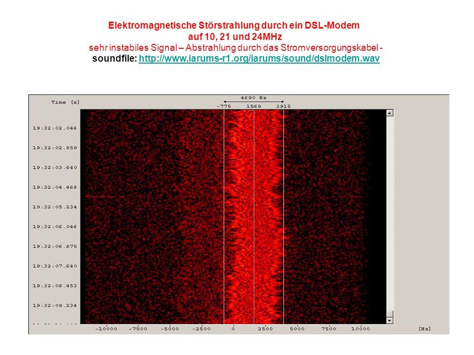 Elektromagnetische Störstrahlung durch ein DSL-Modem auf 10, 21 und 24MHz sehr instabiles Signal – Abstrahlung durch das Stromversorgungskabel - soundfile: http://www.iarums-r1.org/iarums/sound/dslmodem.wavhttp://www.iarums-r1.org/iarums/sound/dslmodem.wav