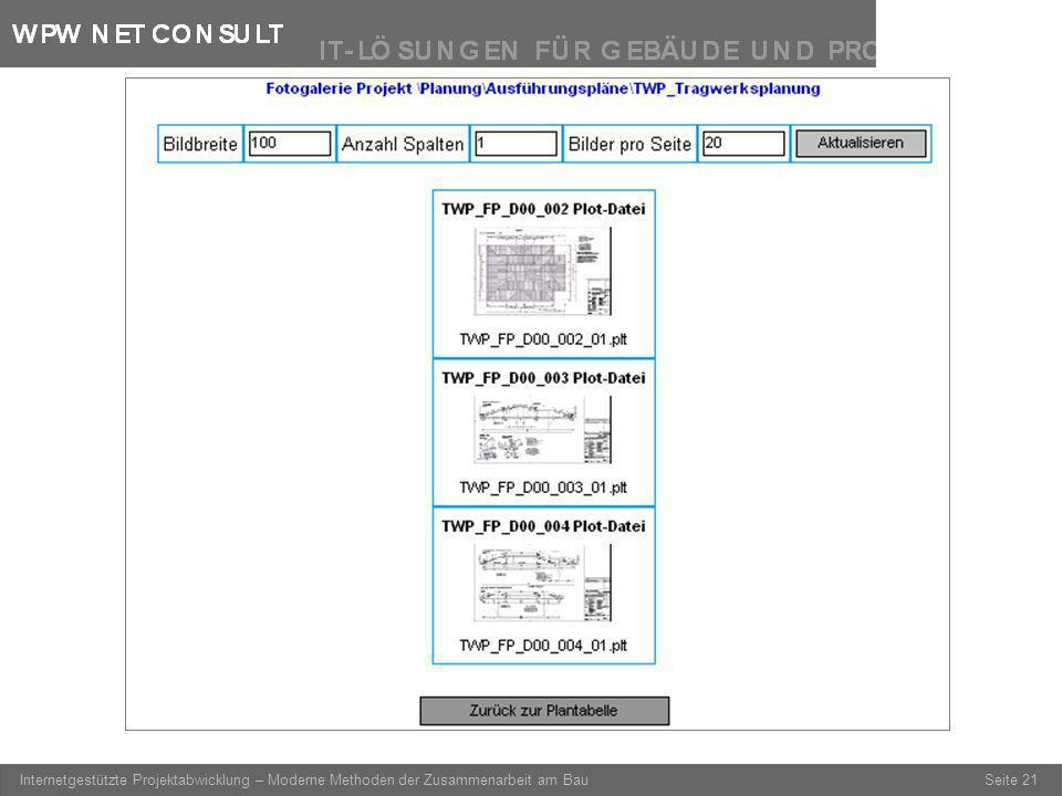 Seite 21 Internetgestützte Projektabwicklung – Moderne Methoden der Zusammenarbeit am Bau Fotogalerie (Vorschau aller Pläne dieses Verzeichnisses)