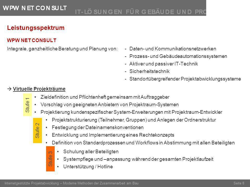 Seite 8 Internetgestützte Projektabwicklung – Moderne Methoden der Zusammenarbeit am Bau Leistungsspektrum WPW NET CONSULT Integrale, ganzheitliche Be