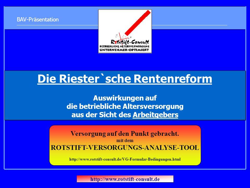 BAV-Präsentation Die Riester`sche Rentenreform Auswirkungen auf die betriebliche Altersversorgung aus der Sicht des Arbeitgebers http://www.rotstift-consult.de Versorgung auf den Punkt gebracht.