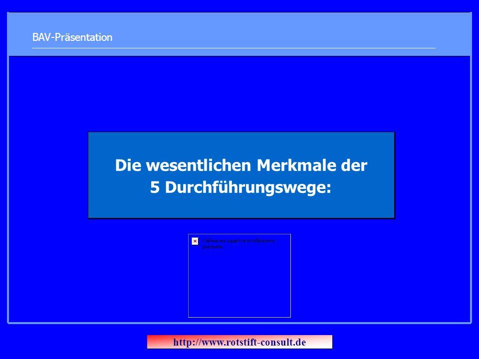 BAV-Präsentation Die wesentlichen Merkmale der 5 Durchführungswege: http://www.rotstift-consult.de