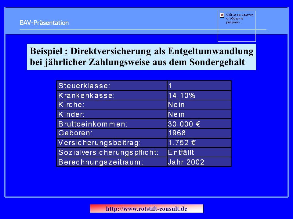 BAV-Präsentation Beispiel : Direktversicherung als Entgeltumwandlung bei jährlicher Zahlungsweise aus dem Sondergehalt http://www.rotstift-consult.de