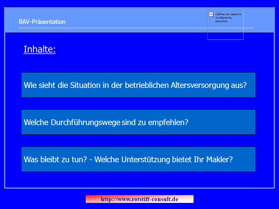 BAV-Präsentation Inhalte: Welche Durchführungswege sind zu empfehlen.