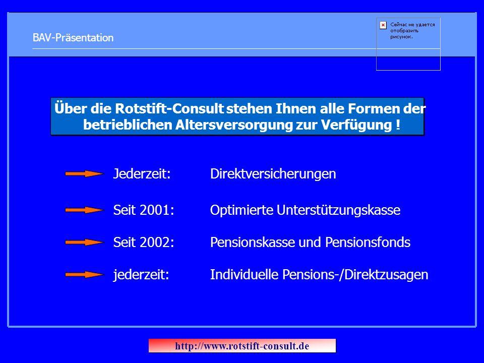 BAV-Präsentation Über die Rotstift-Consult stehen Ihnen alle Formen der betrieblichen Altersversorgung zur Verfügung ! Jederzeit: Direktversicherungen
