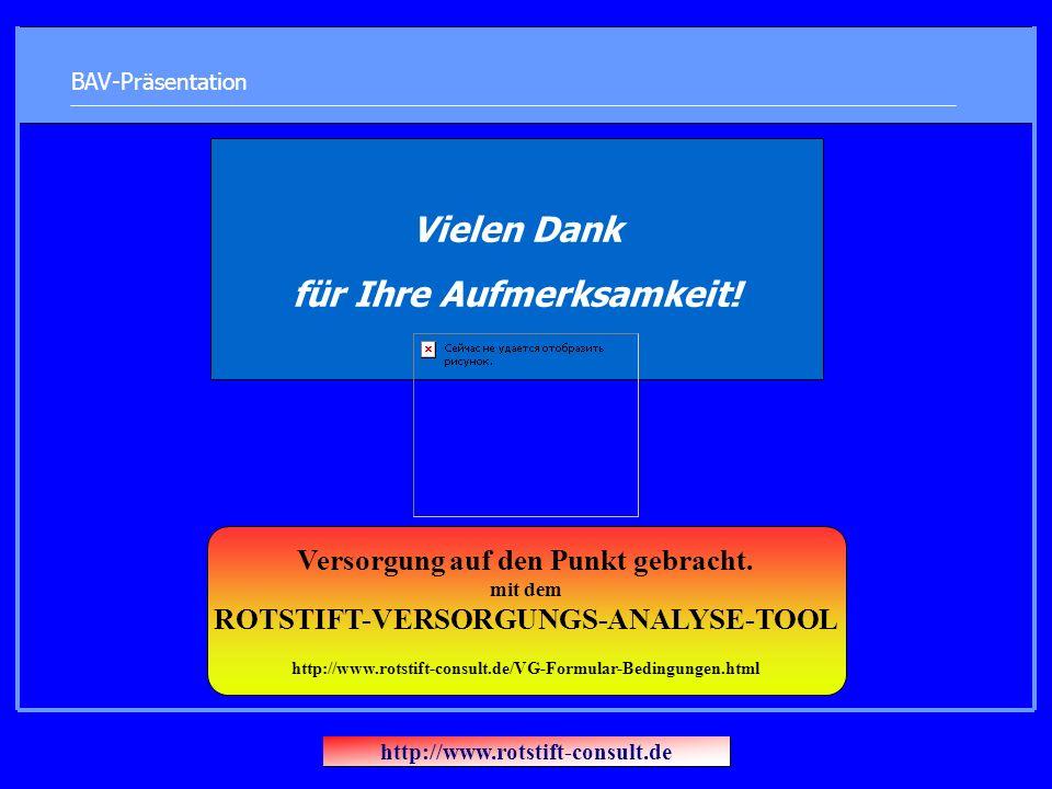 BAV-Präsentation Vielen Dank für Ihre Aufmerksamkeit! http://www.rotstift-consult.de Versorgung auf den Punkt gebracht. mit dem ROTSTIFT-VERSORGUNGS-A
