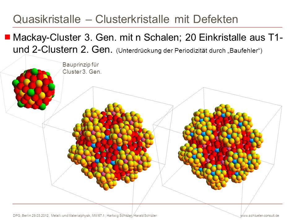 DPG, Berlin 29.03.2012, Metall- und Materialphysik, MM 57.1 ; Hartwig Schlüter, Harald Schlüter www.schlueter-consult.de Quasikristalle – Clusterkrist