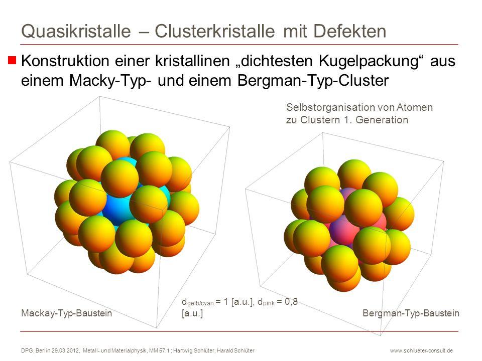 DPG, Berlin 29.03.2012, Metall- und Materialphysik, MM 57.1 ; Hartwig Schlüter, Harald Schlüter www.schlueter-consult.de In dem Macky-Cluster 2.