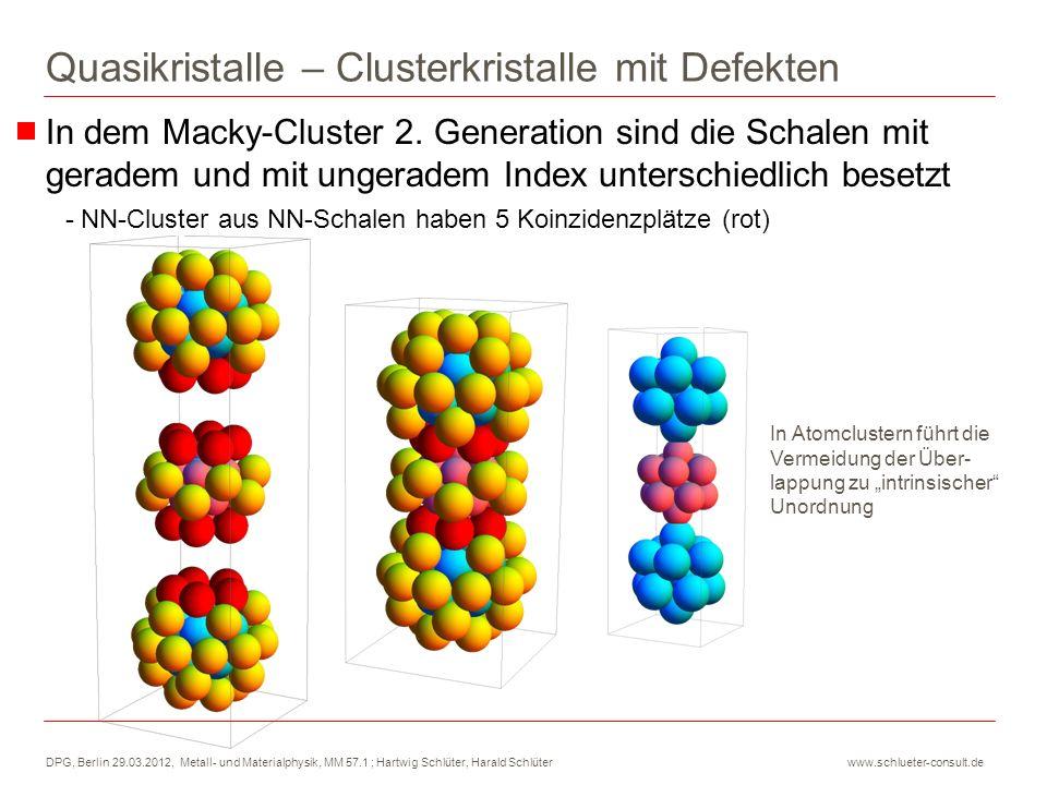 DPG, Berlin 29.03.2012, Metall- und Materialphysik, MM 57.1 ; Hartwig Schlüter, Harald Schlüter www.schlueter-consult.de Quasikristalle – Clusterkristalle mit Defekten NN-Cluster aus derselben Schale haben 4 bzw.