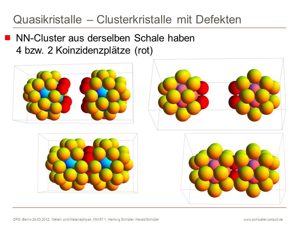 DPG, Berlin 29.03.2012, Metall- und Materialphysik, MM 57.1 ; Hartwig Schlüter, Harald Schlüter www.schlueter-consult.de Quasikristalle – Clusterkristalle mit Defekten Einheitszelle eines Cluster-Kristalls aus Clustern 1.