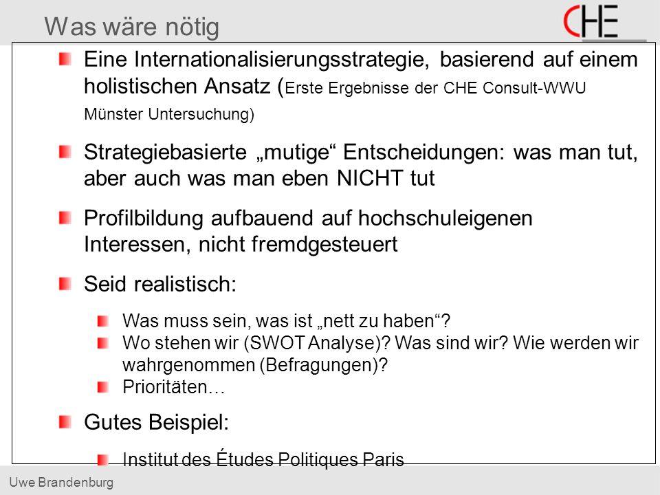 Uwe Brandenburg Was wäre nötig Eine Internationalisierungsstrategie, basierend auf einem holistischen Ansatz ( Erste Ergebnisse der CHE Consult-WWU Mü