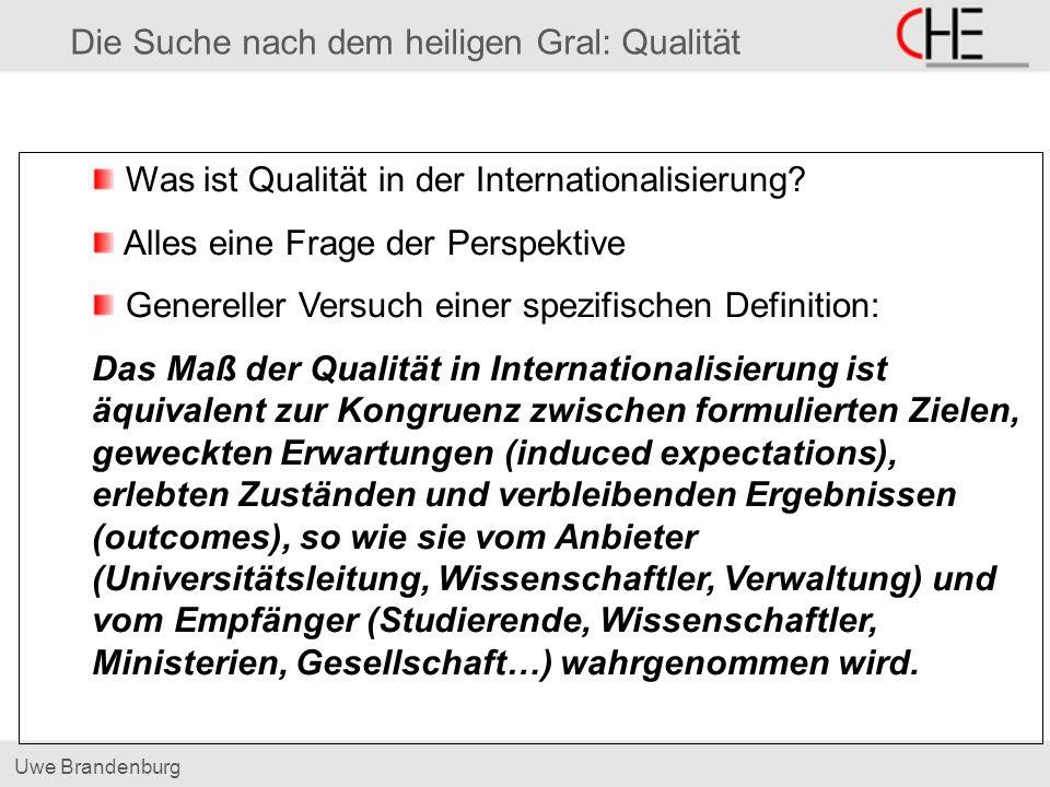 Uwe Brandenburg Die Suche nach dem heiligen Gral: Qualität Was ist Qualität in der Internationalisierung.