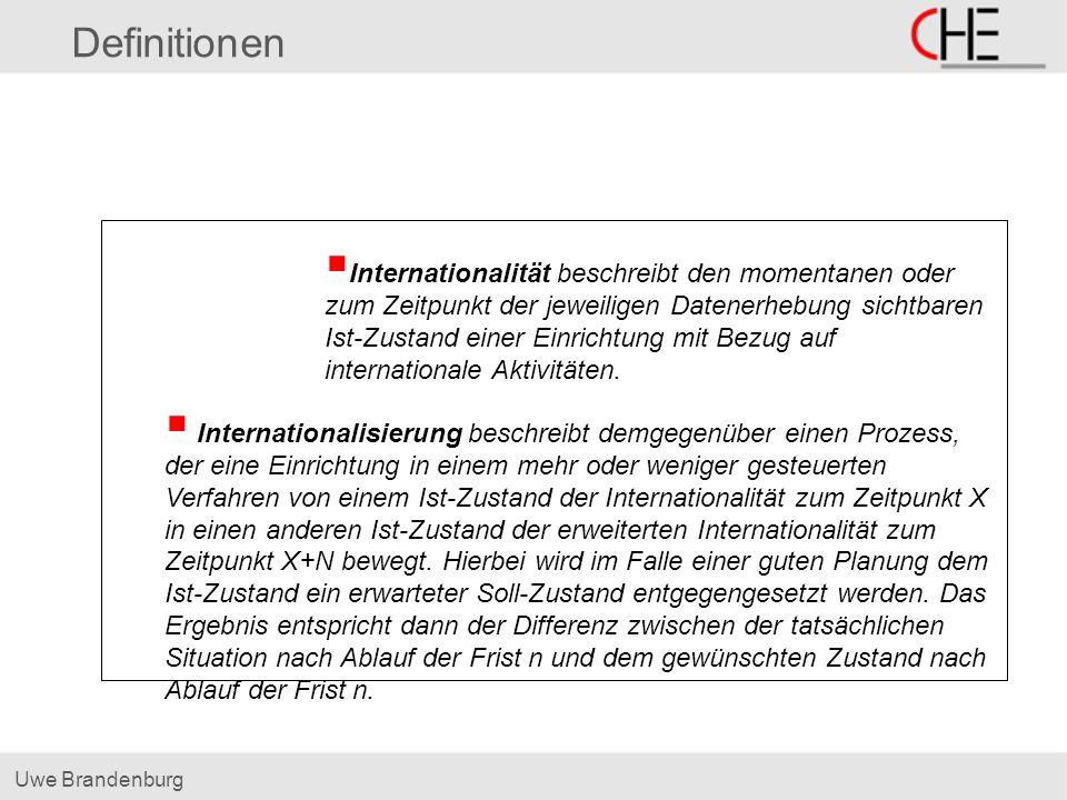Uwe Brandenburg Definitionen Internationalität beschreibt den momentanen oder zum Zeitpunkt der jeweiligen Datenerhebung sichtbaren Ist-Zustand einer Einrichtung mit Bezug auf internationale Aktivitäten.