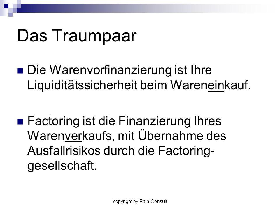 copyright by Raja-Consult Das Traumpaar Die Warenvorfinanzierung ist Ihre Liquiditätssicherheit beim Wareneinkauf. Factoring ist die Finanzierung Ihre