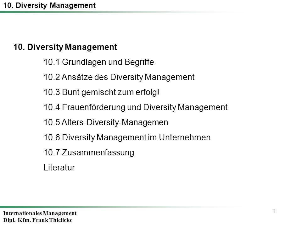 1 10. Diversity Management 10.1 Grundlagen und Begriffe 10.2 Ansätze des Diversity Management 10.3 Bunt gemischt zum erfolg! 10.4 Frauenförderung und