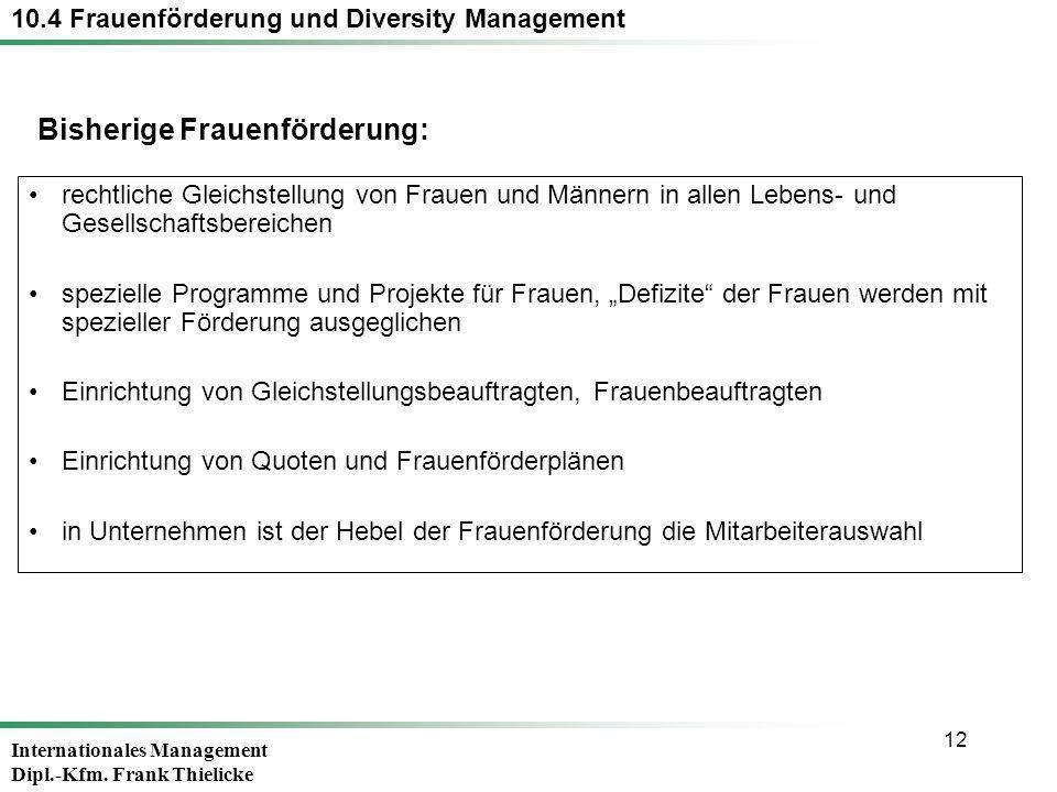 Internationales Management Dipl.-Kfm. Frank Thielicke 12 rechtliche Gleichstellung von Frauen und Männern in allen Lebens- und Gesellschaftsbereichen