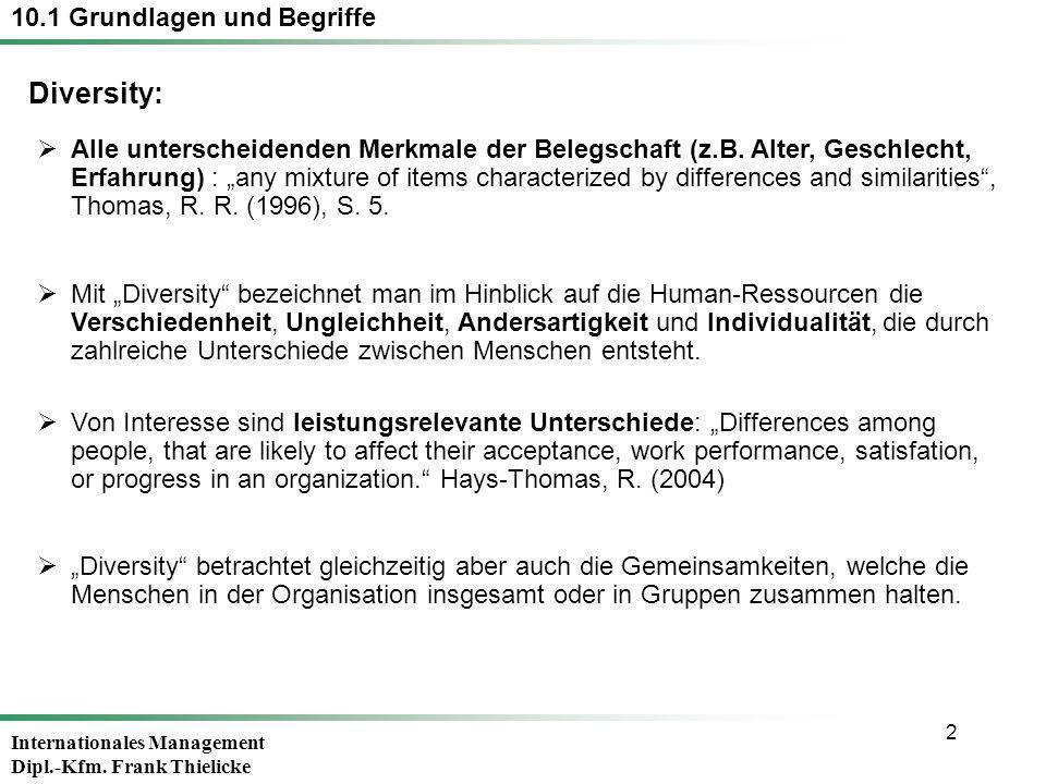 2 10.1 Grundlagen und Begriffe Alle unterscheidenden Merkmale der Belegschaft (z.B. Alter, Geschlecht, Erfahrung) : any mixture of items characterized