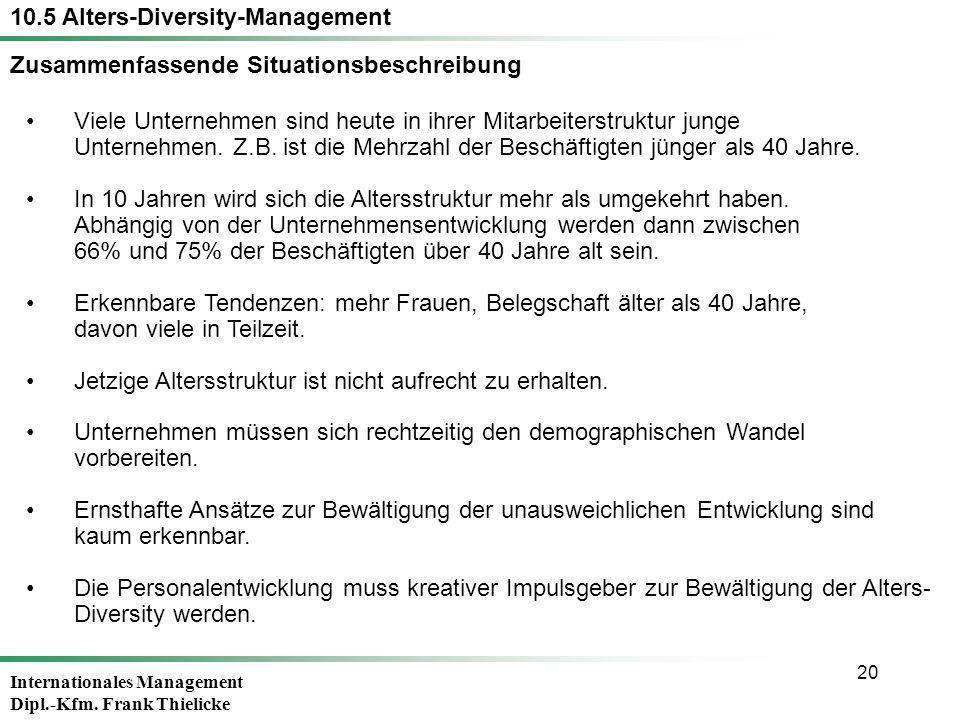 Internationales Management Dipl.-Kfm. Frank Thielicke 20 Viele Unternehmen sind heute in ihrer Mitarbeiterstruktur junge Unternehmen. Z.B. ist die Meh