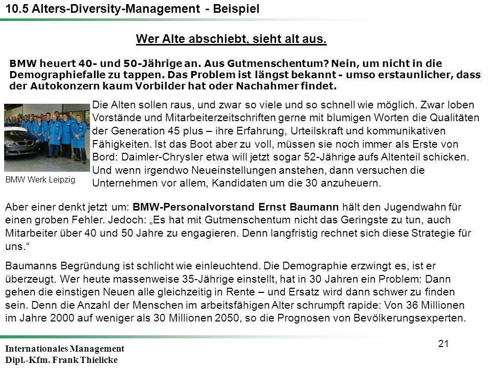 Internationales Management Dipl.-Kfm. Frank Thielicke 21 BMW heuert 40- und 50-Jährige an. Aus Gutmenschentum? Nein, um nicht in die Demographiefalle