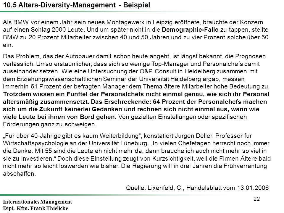 Internationales Management Dipl.-Kfm. Frank Thielicke 22 Als BMW vor einem Jahr sein neues Montagewerk in Leipzig eröffnete, brauchte der Konzern auf