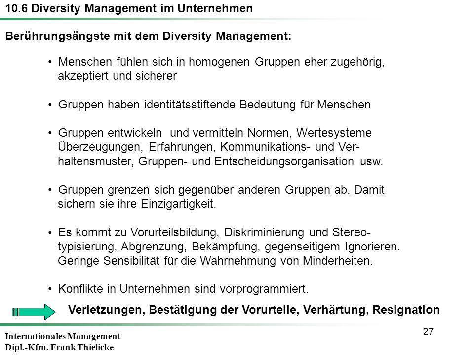 Internationales Management Dipl.-Kfm. Frank Thielicke 27 Menschen fühlen sich in homogenen Gruppen eher zugehörig, akzeptiert und sicherer Gruppen hab