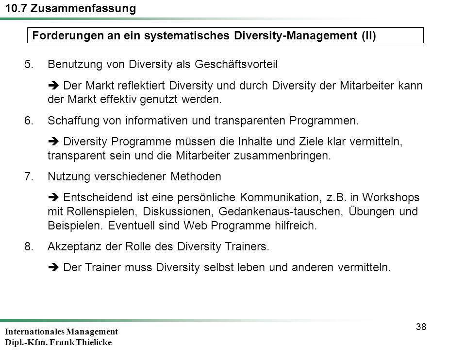 Internationales Management Dipl.-Kfm. Frank Thielicke 38 5.Benutzung von Diversity als Geschäftsvorteil Der Markt reflektiert Diversity und durch Dive