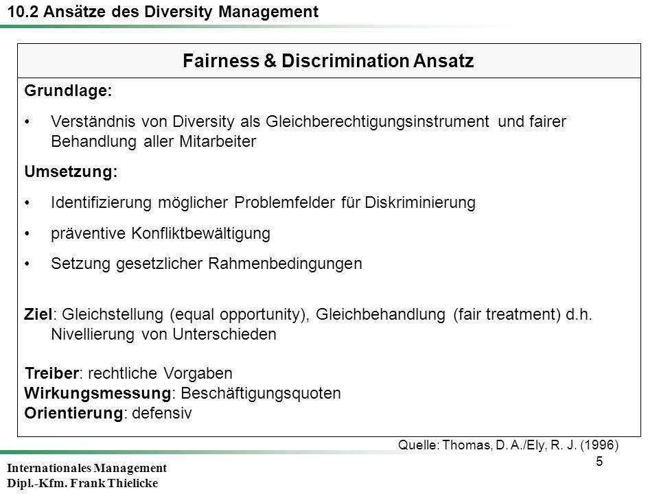 Internationales Management Dipl.-Kfm. Frank Thielicke 5 Grundlage: Verständnis von Diversity als Gleichberechtigungsinstrument und fairer Behandlung a