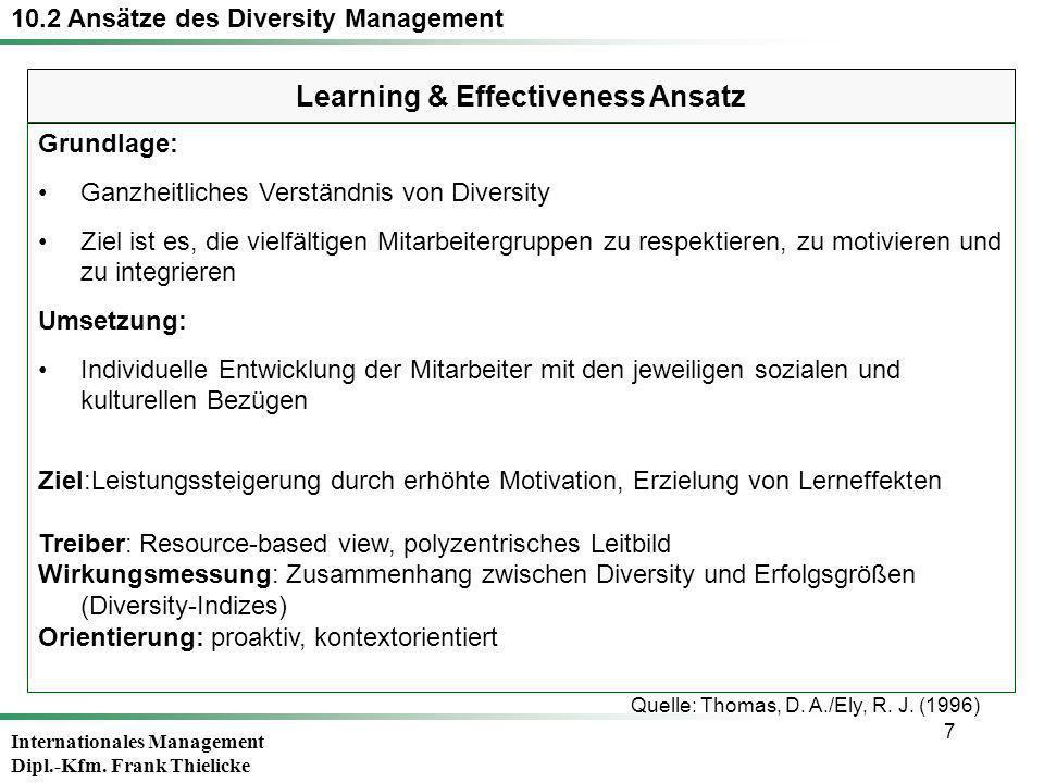 Internationales Management Dipl.-Kfm. Frank Thielicke 7 Learning & Effectiveness Ansatz 10.2 Ansätze des Diversity Management Grundlage: Ganzheitliche