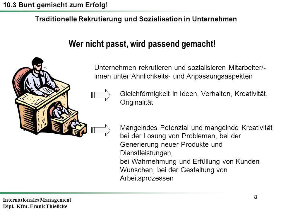 Internationales Management Dipl.-Kfm. Frank Thielicke 8 Wer nicht passt, wird passend gemacht! Unternehmen rekrutieren und sozialisieren Mitarbeiter/-